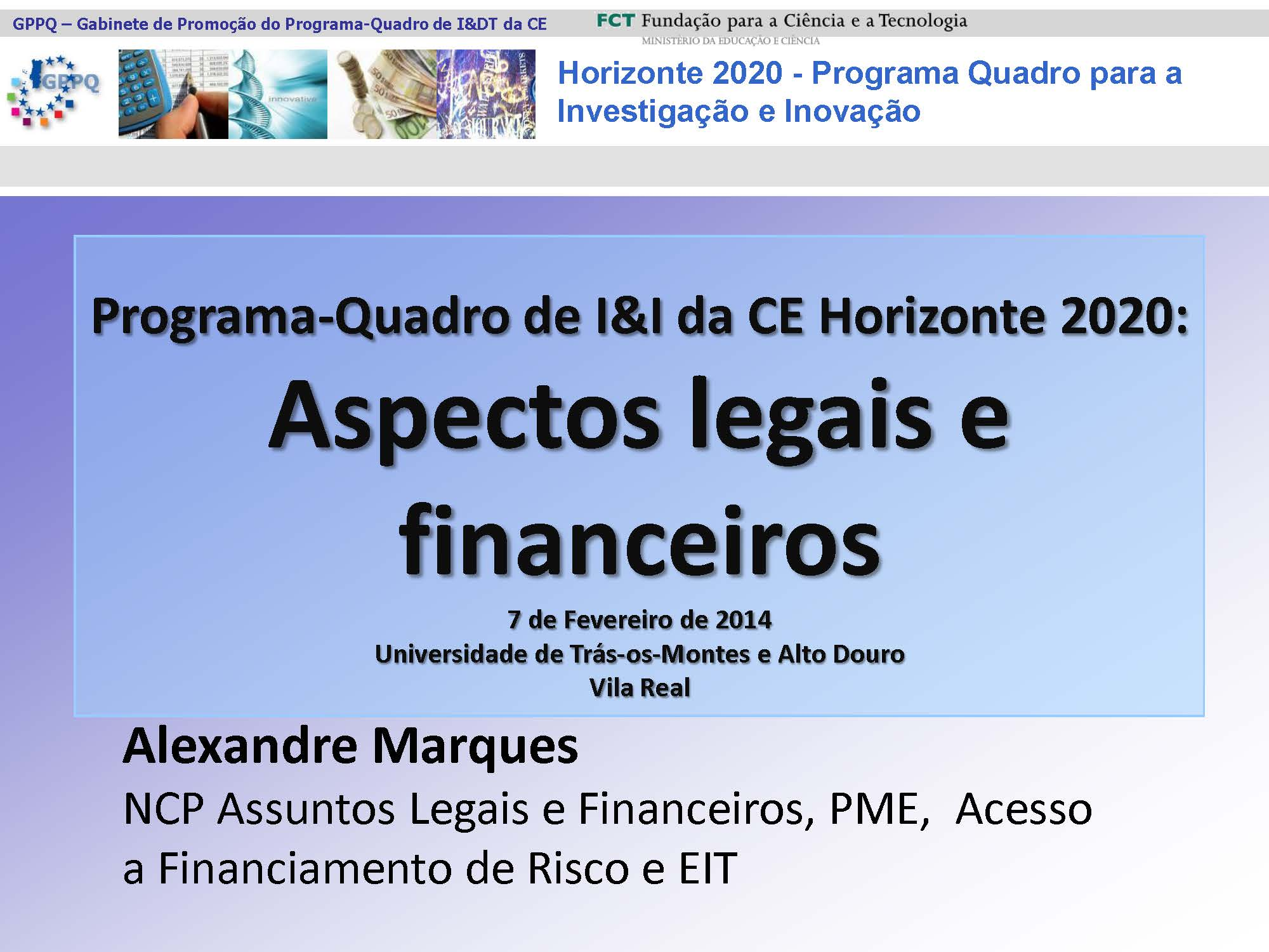 Cartaz: Seminário: Horizonte 2020 - Aspetos legais e financeiros