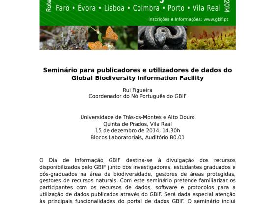 Cartaz: Seminário Dia de Informação GBIF