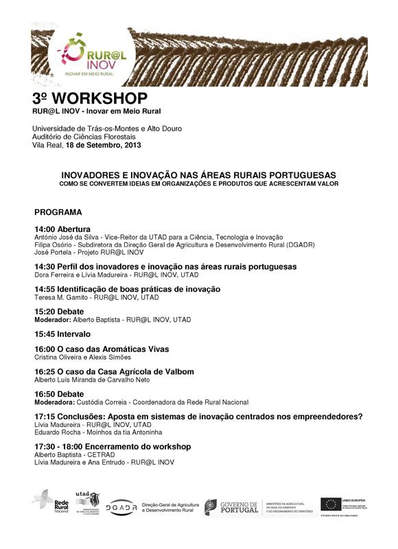 Cartaz: Workshop de divulgação dos resultados do projeto RUR@L INOV - Inovar em Meio Rural