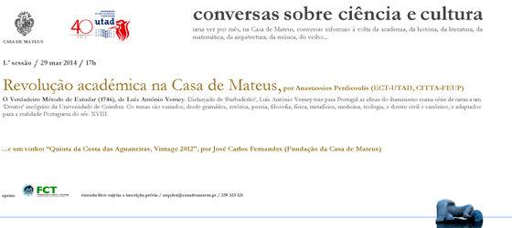 Banner: Ciclo de tertúlias Conversas sobre ciência e cultura