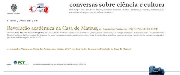 Banner: Ciclo de tertúlias «Conversas sobre Ciência e Cultura»
